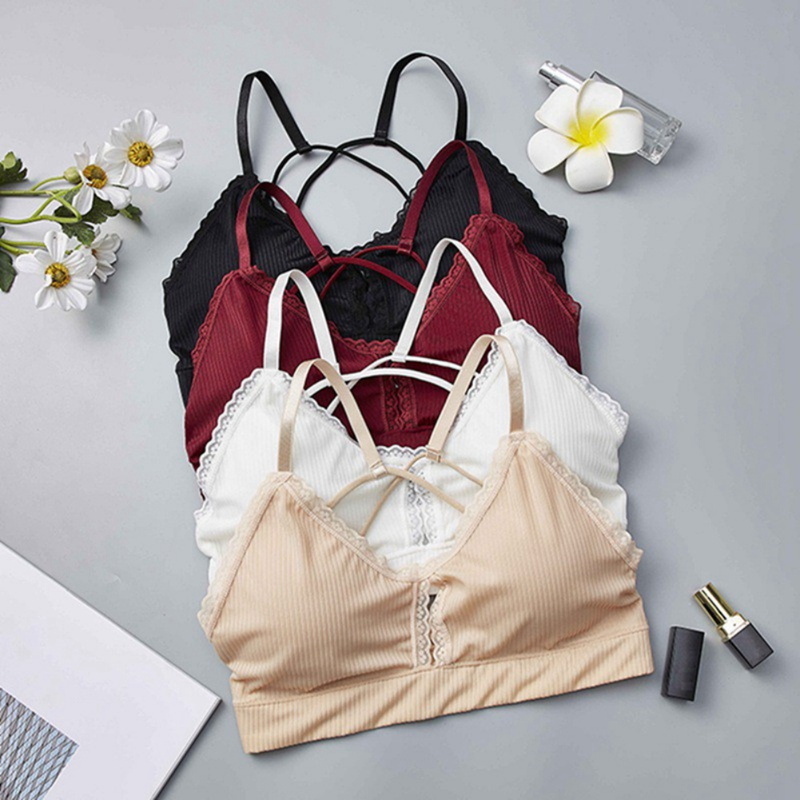 2019 Lace Bra Sexy Hollow Out Cross Back Solid Color Lingerie Fashion Beauty Back Wrapped Chest Beauty Back Base Vest in Bras from Underwear Sleepwears