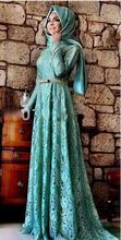 2017 Evening Dresses A-line Long Sleeves Mint Green Lace Hijab Islamic Dubai Abaya Kaftan Long Evening Gown