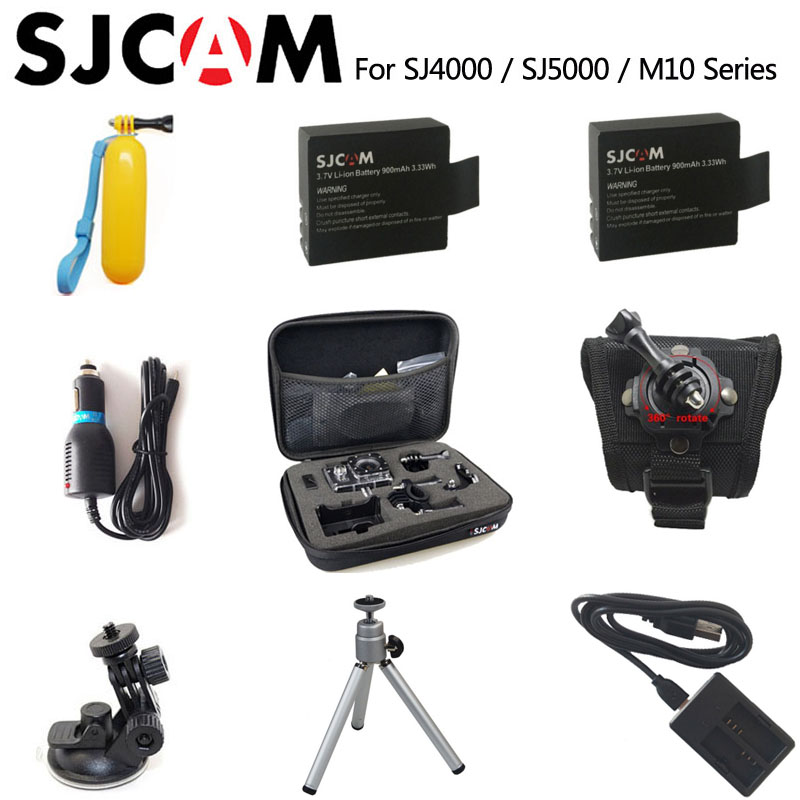SJ4000 Accessories SJ5000 Battery Bag Monopod Tripod Floating Bobber for SJCAM SJ4000 5000 M10 Plus SJ5000X Sports Action Camera