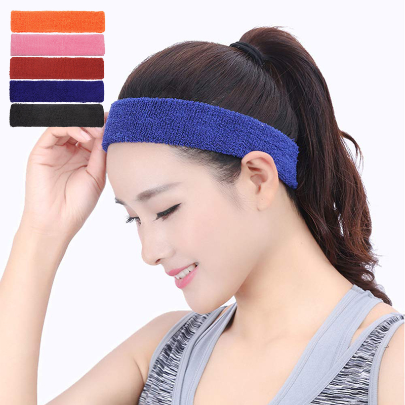 Sports Elastic Yoga Headband Towel Cotton Sweatband Running Cycling Men and Women Head Band Hair Band turban Accessories