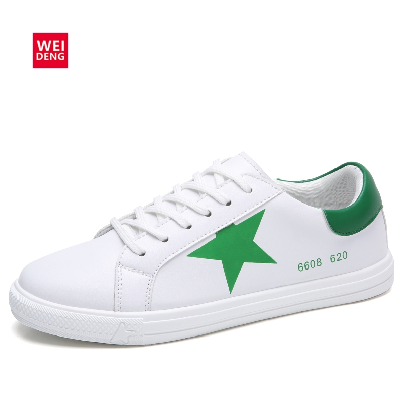 WeiDeng Platform Vulcanize Women Sneaker PU Leather Casual Flats Classic Star Breathable Lace Up Winter Fashion Sport Shoes 2016 new vintage women casual shoes fashion good pu leather breathable lace up low platform women shoes xwc344