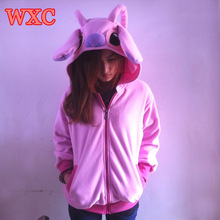 Pink Stitch Hoodies Cosplay Anime Hooded Sweatshirts With Ears Cute Patchwork Warm Zip-up Coat Women's Clothing WXC