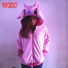 Pink stitch hoodies cosplay anime sudaderas con capucha con orejas lindo patchwork warm zip-up escudo mujeres clothing wxc