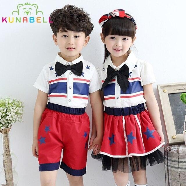 9a57fb948 Children Class Suit Girls Boys School Uniforms Sets Star Print Bow Tie  T-shirt +Half Pants Tutu Skirt Boys Performing Suit L211