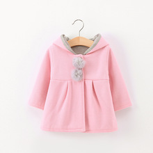 Baby Girls Jacket 2018 Autumn Winter Jacker For Coat Kids Warm Rabbit Ear Hooded Children Outerwear Clothes