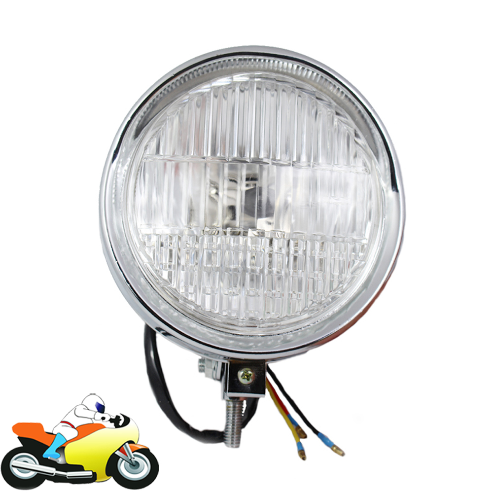 где купить Universl 12v 35w Motorcycle Headlight H4 Halogen Bulb High Low Beam Motorbike Headlamp for Honda Yamaha Vespa LX S LXV 50 150 дешево