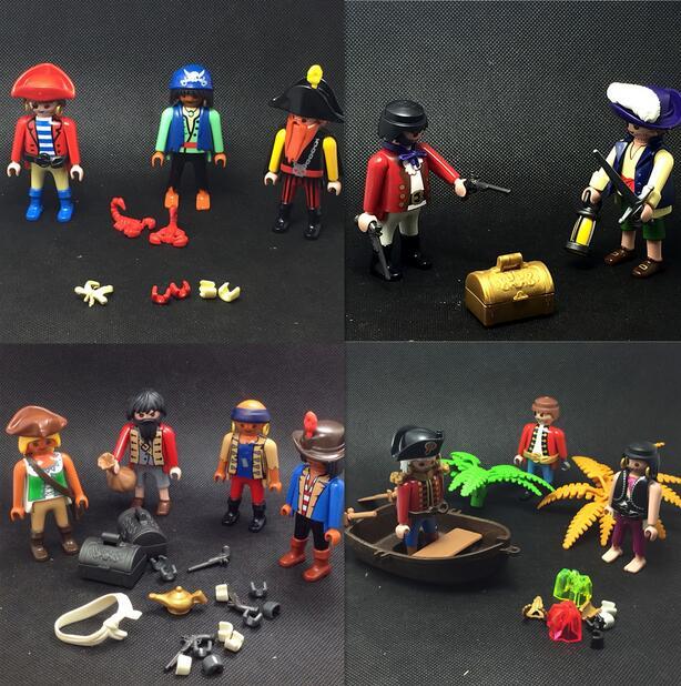 Original Playmobil Pirata soldados figura Juguetes Playmobil Fille familia Set Juguetes caballeros Mini figuras de acción niño juguete
