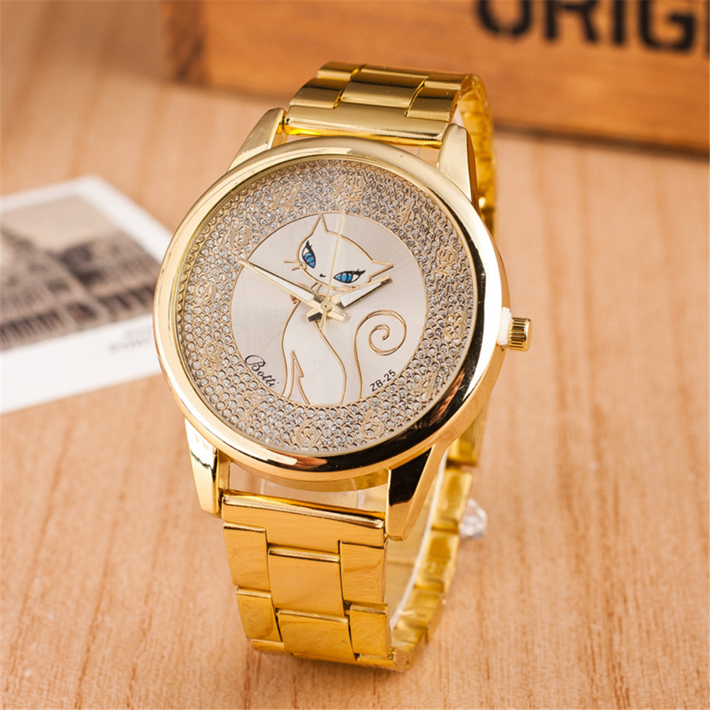 Gold Full Steel Band Big Dial Ladies Cat Watch Women Luxury Diamond Geneva Fashion Dress Quartz
