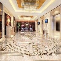 Beibehang Custom 3D Floor Stickers High End European Style Jade Relief 3D Floor Tiles Room Living