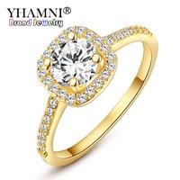 fd1f926afb38 GALAXY Fashion Jewelry Real 24K Gold Filled Engagement Ring Luxury 1 Carat  Round CZ Diamond Zircon