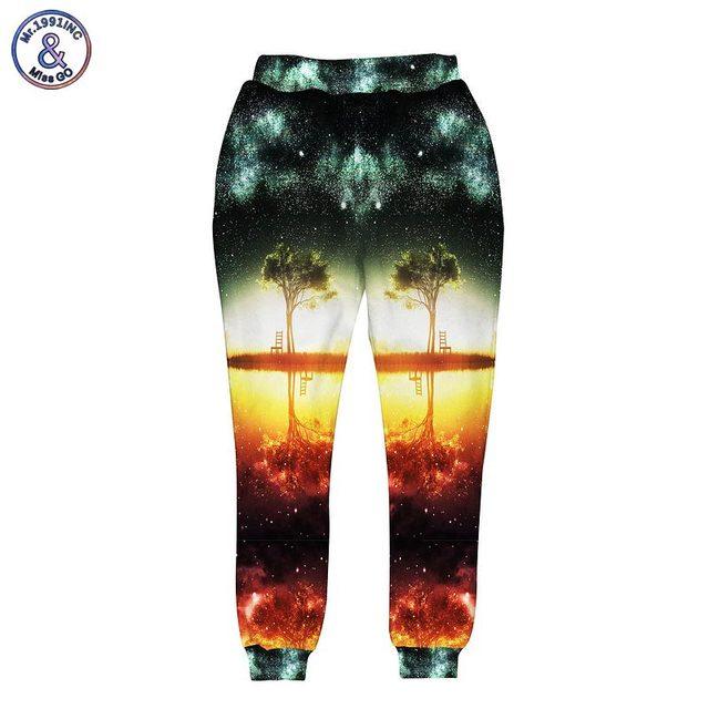Mr.1991INC Пространство/galaxy 3d брюки мужчины/женщины 3d harajuku стиль смешно печати nightfall деревья бегунов 3 карманы длинные шаровары брюки