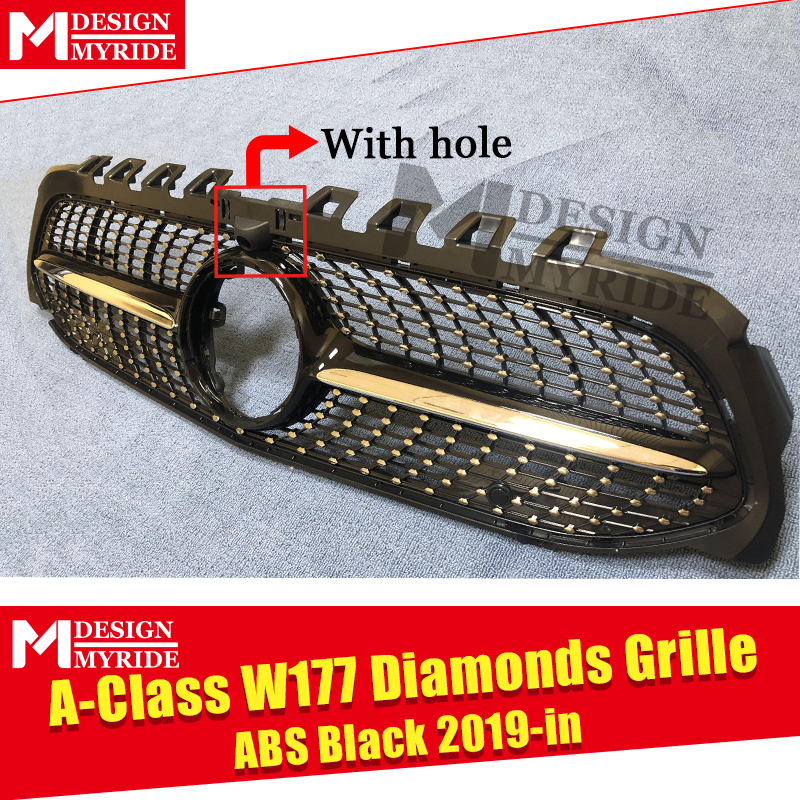 For MercedesMB W177 Sport grille Diamonds grill With Camera hole ABS Black A Class A180 A200 A45 Look grills Without Sign 2019 in Racing Grills from Automobiles Motorcycles