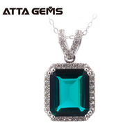 Sterling Silver Emerald Pendants For Women Fine Jewelry 6.8 Carats Created Emerald Silver Jewelry Party Wedding Jewelry Brand