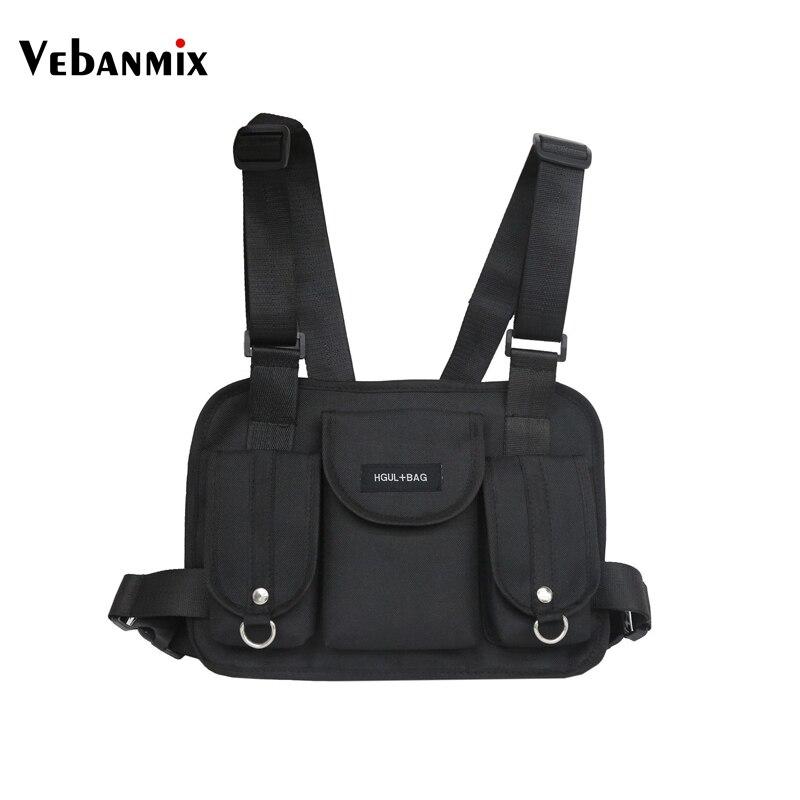 Vebanmix 2018 moda pecho PLATAFORMA DE bolso de la cintura, hip hop streetwear funcional táctico pecho bolsa de hombro bolsas bolso de Kanye West