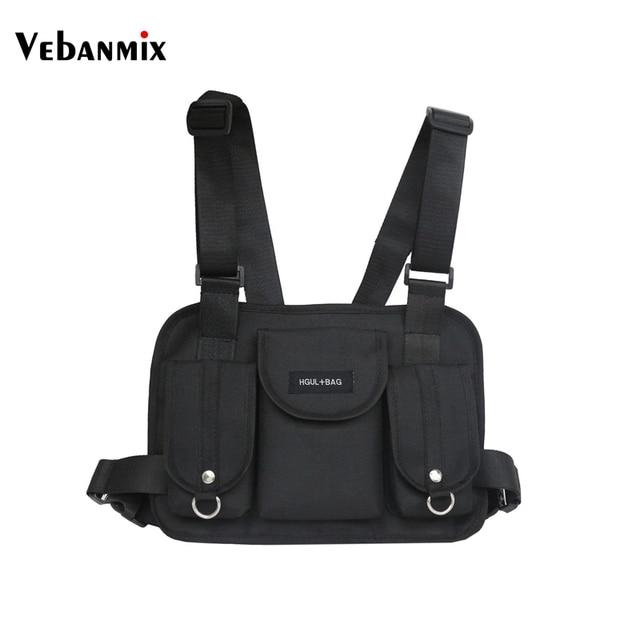 Vebanmix 2018 moda peito rig peito tático saco da cintura hip hop streetwear funcional saco cruz sacos de ombro bolso Kanye West
