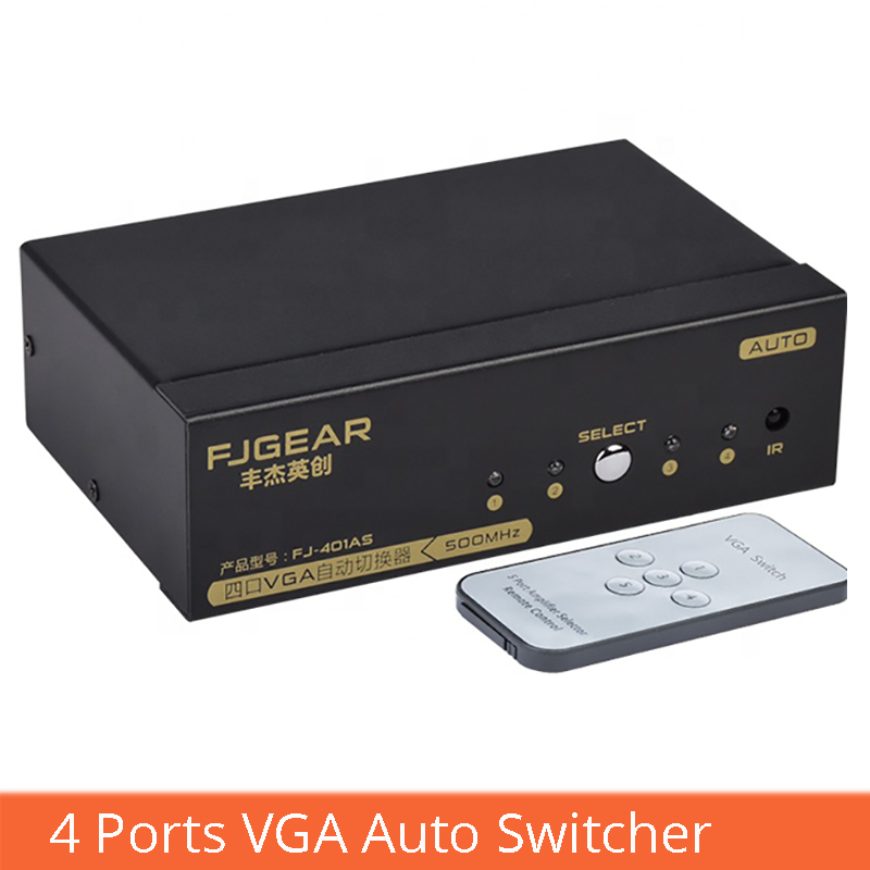 VGA Smart Switcher 4 In 1 Out With Remote Control Switch Vga Computer Set-top Box Convert Projector Display FJ-401AS