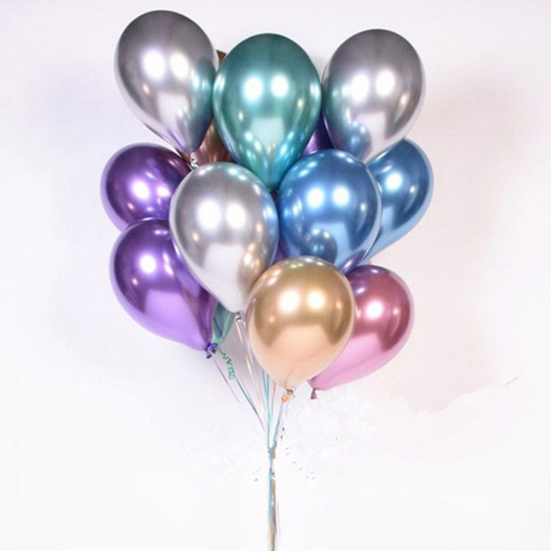 100pcs 12inch Chrome Latex Balloons Wedding Party Decor Globos Metalicos Thick Pearly Metallic Latex Ballon Helium Ball Supplies in Ballons Accessories from Home Garden