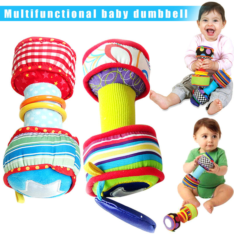1 Pair Infant Baby Rainbow Colourful Soft Rattle Dumbbells Toy Kids Intellectual Development Toy  S7JN