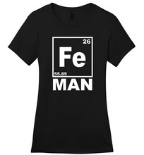 Fashion Cotton T Shirts Broadcloth Fe Man Funny Soft Iron Chemistry Science Periodic Table Women Short O-Neck T Shirt