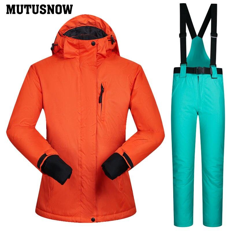 Snowboard costumes femmes hiver coupe-vent imperméable femme veste de Ski et pantalons de neige ensembles Super chaud marques femmes Ski costume - 3