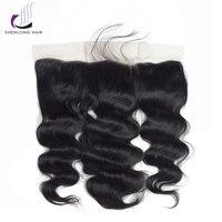 SHENLONG HAIR 1 Pcs Natural Color Peruvian Body Wave 13*4 Lace Frontal 100g/Pcs 100% Human Hair Non Remy Extensions No Smell