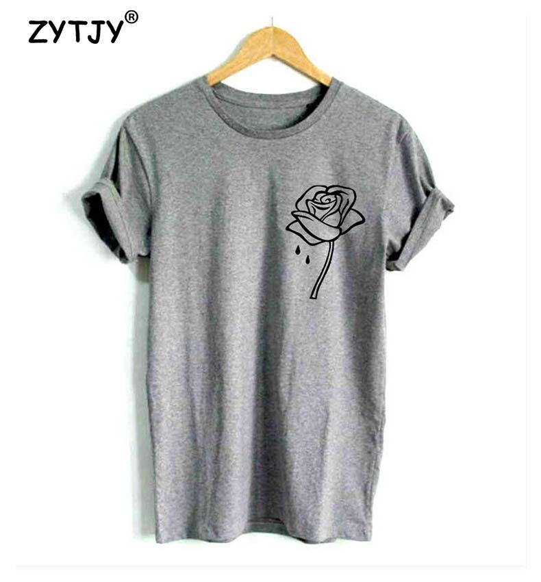 Rose Flower Pocket Print Women Tshirt Cotton Casual