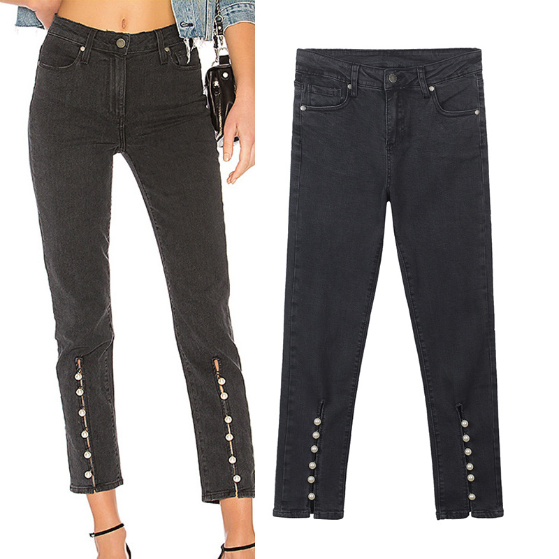 New European and American black high waist inlaid pearl decoration pin bead split fork nine pants pearl jeans female spring
