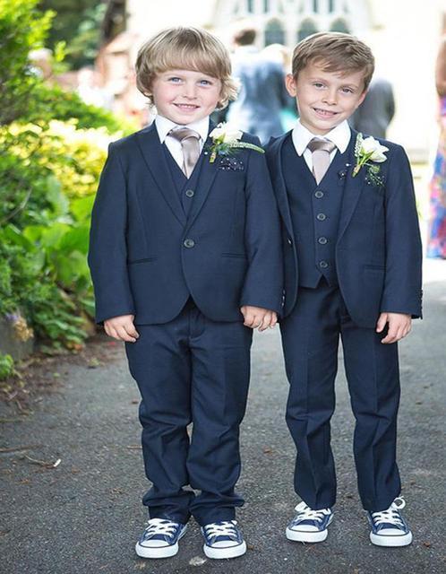Nova chegada de um botão azul marinho crianças smoking belos estudioso primária ternos menino Prom Suits ( Jacket + Pants + Vest + Tie ) K : 701