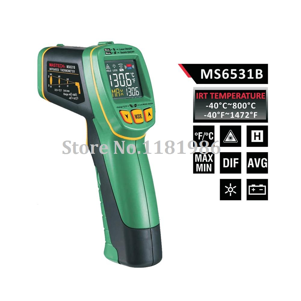 MASTECH MS6531B Handheld Non contact Infrared Thermometer Point Temperature Gun with K type Thermocouple Temperature Measurement