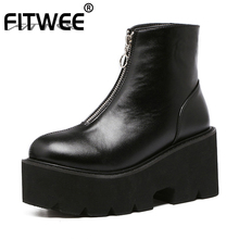цены FITWEESize 33-43 Women Platform High Heel Boots Motorcycle Zipper Ankle Thick Bottom Boots Punk Warm Shoes Women Footwears