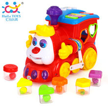 Wholesale Kids Toys New Huile Toys 556 Electric Train with Music/Light/Block/Language Learning Car Simulation Toys For Baby Boys
