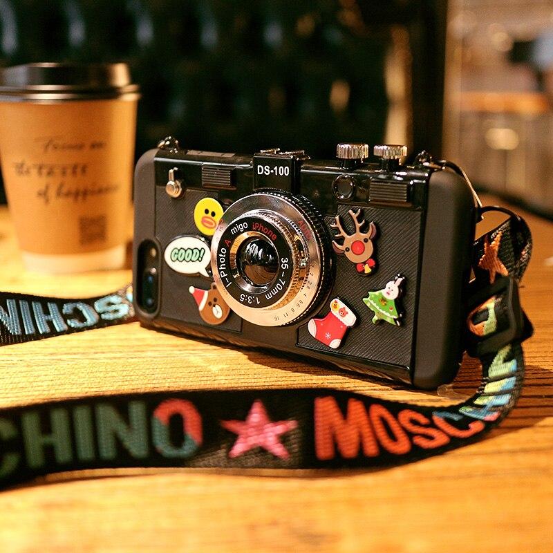 Mode De Luxe Mignon Caméra Forme Téléphone Cas Pour iPhone Tous Les Modèles Vente Chaude Courroie De Téléphone Cas Pour iPhone
