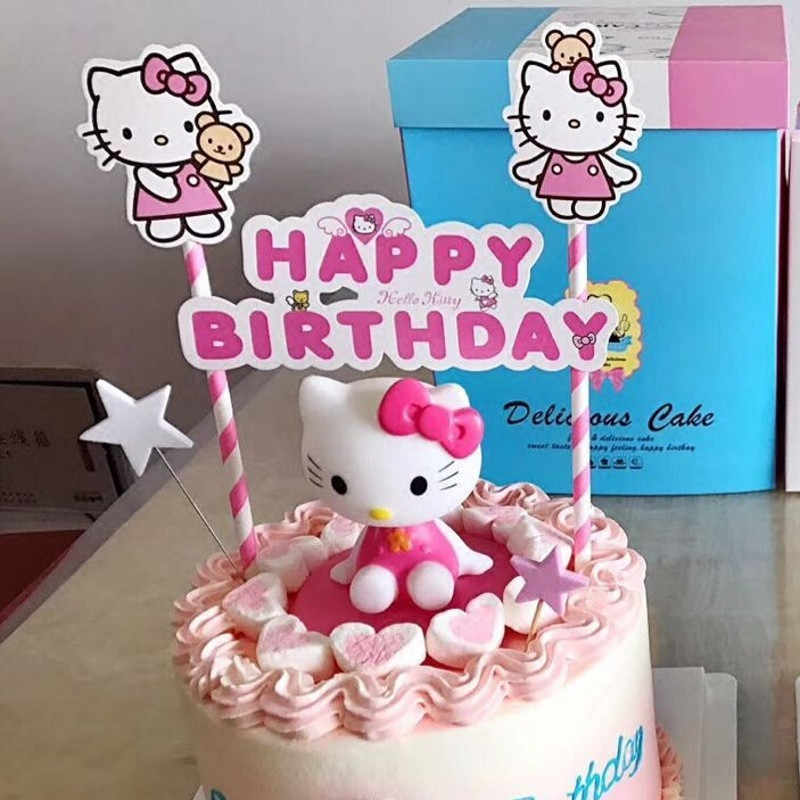 Detail Feedback Questions About Cat Cupcake Toppers 21st Birthday Decorations Cake Flags Kids Children Girl Party Decoration Hello Kitty