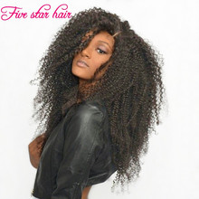 200% Density Thick Human Hair Lace Wigs for black women Silk Top Kinky Curly Brazilian Full lace wigs/ Glueless Lace Front Wigs