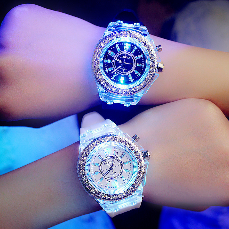 Fashion  Watches LED Light Luminous School Students Wristwatch Lovers Women Men Rhinestone Personality Watches Kids Reloj Clock