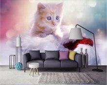 beibehang Fresh beautiful dreamy cute cat children room background wall papel de parede wallpaper hudas beauty duvar kagit