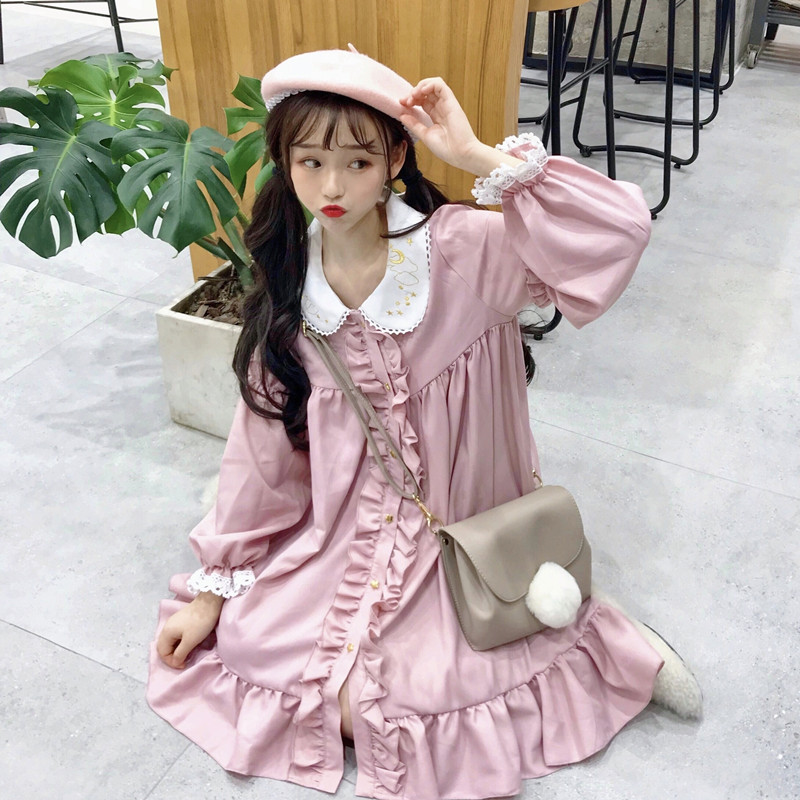 Vestidos de rendas Fungo Rendas Bordado Vestido Da Boneca das Mulheres Japonês Harajuku Ulzzang Feminino Coreano Kawaii Bonito Roupas Para Mulheres