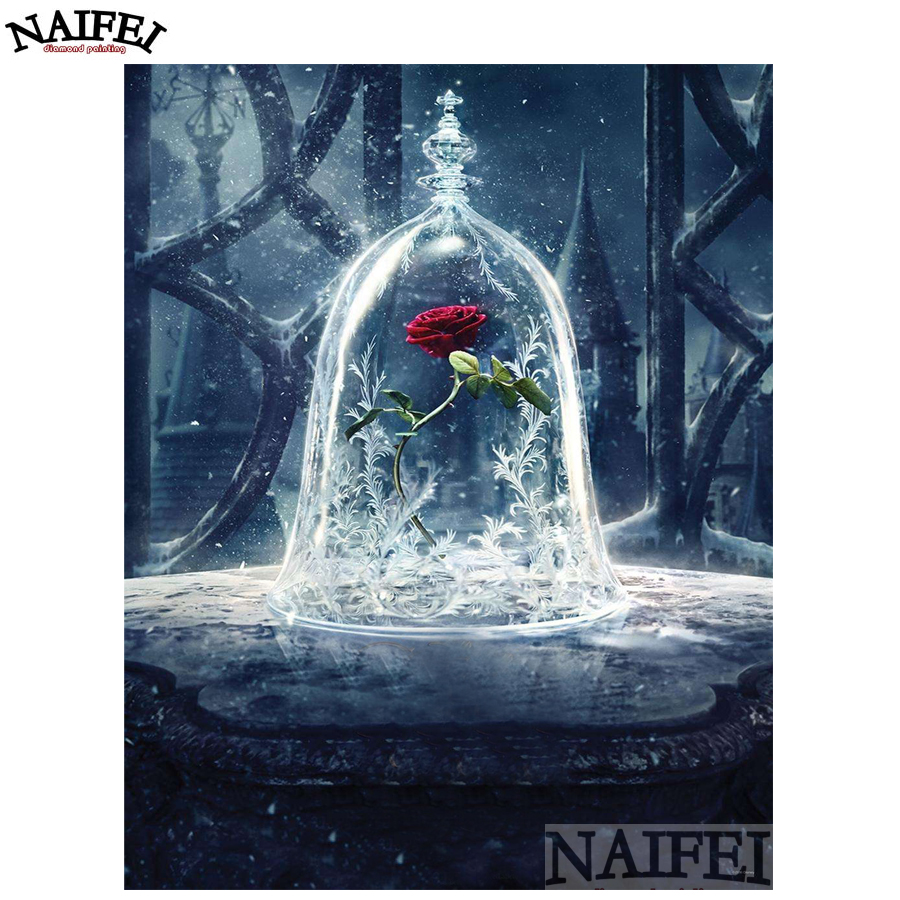 beauty and the Beast, Flower,rose,Diamond embroidery,diamond Painting rhinestone 3D picture cross stitch pattern Home decoration