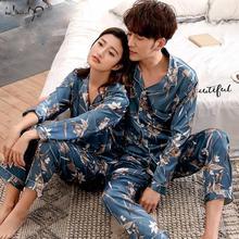 연인 겨울 잠옷 커플 남여 실크 잠옷 소프트 파자마 세트 나이트 가운 여성 잠옷 세트 긴 소매 남자 라운지 Pijamas