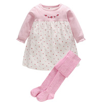 Brand New Spring Baby Girl Clothing Set Newborn Baby Floral Princess Cotton Dress Pantyhose 2PCS Outfit
