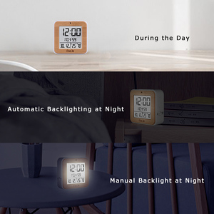 Image 5 - Fanju fj3533 디지털 알람 시계 led 온도 습도 듀얼 알람 자동 백라이트 스누즈 날짜 온도계 데스크탑 테이블 시계