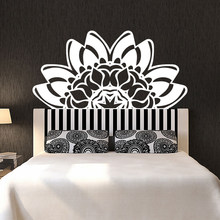Newest Creative Lotus Wall Vinyl Decal Mandala Mehndi Decorate Bed Wall Sticker Bedroom Wall Yoga Studio Mural Home Decor(China)