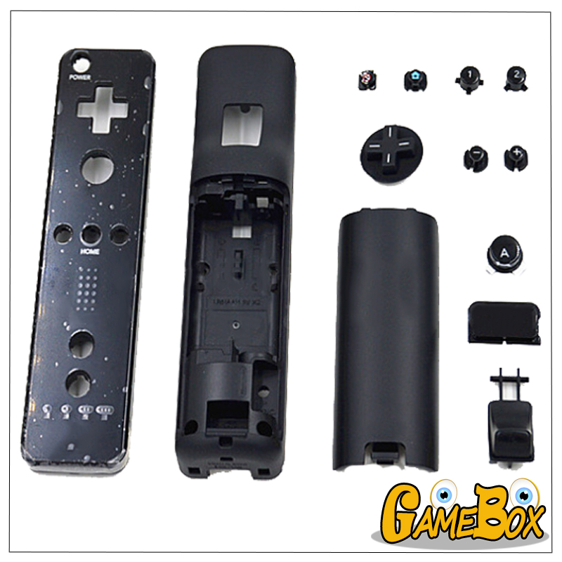 Original Black/White Full Set Handle Shell Case Cover For Nintend Wii Upper Lower Handle Shell Full Set Button For Wii Remote