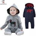 Autumn Baby Rompers 2016 Fashion Newborn Baby Boy Jumpsuit Long Sleeve Hooded Zipper Body Suit For Christmas Costume