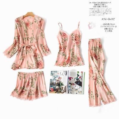 Fashionable Women Floral Lingerie Set Bath Robe+Cami+Shorts+Long Pants 4Pcs Pajama Set Silk Pyjamas Sleepwear Sexy Home Clothes