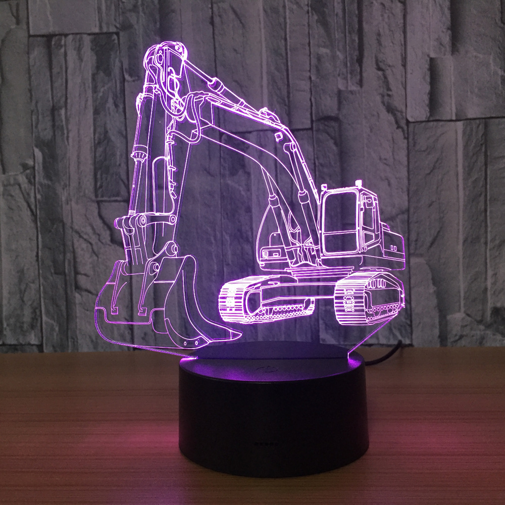 3D Excavator Night Light Illusion LED Touch Table Lamp 7 Colors USB Novelty Luces Car Shape Bedside Nightlight Lamps Boy Gift novelty unicorn shape lamp led night light novelty animal led wall lamps nightlight for children gift bedroom decor night light