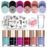 NICOLE DIARY Lover Heart Stamping Plates Polish Sets Valentine Stamp Image Plate Clear Stamper Scrapers Nail