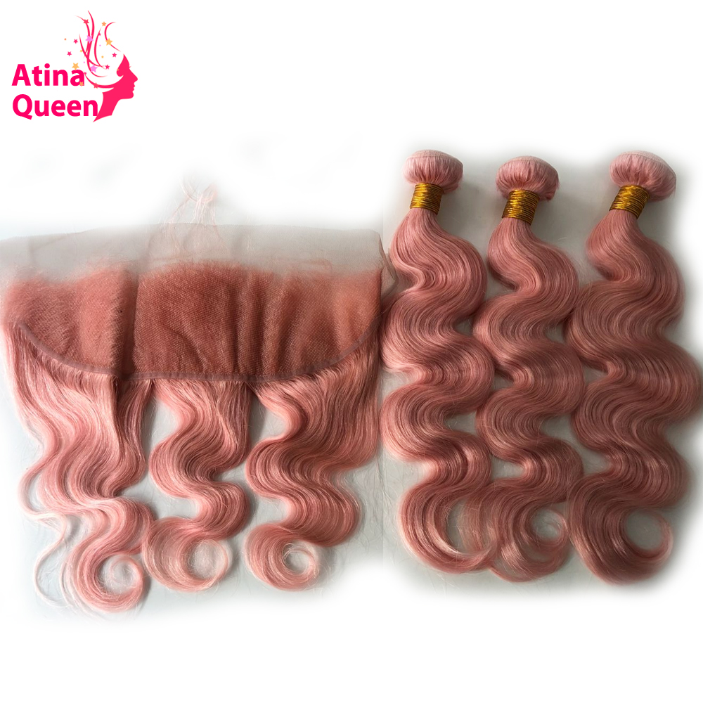 Brazilian Body Wave Hair Bundles with Frontal Pink 13x4 Ear to Ear Lace Closure with Baby