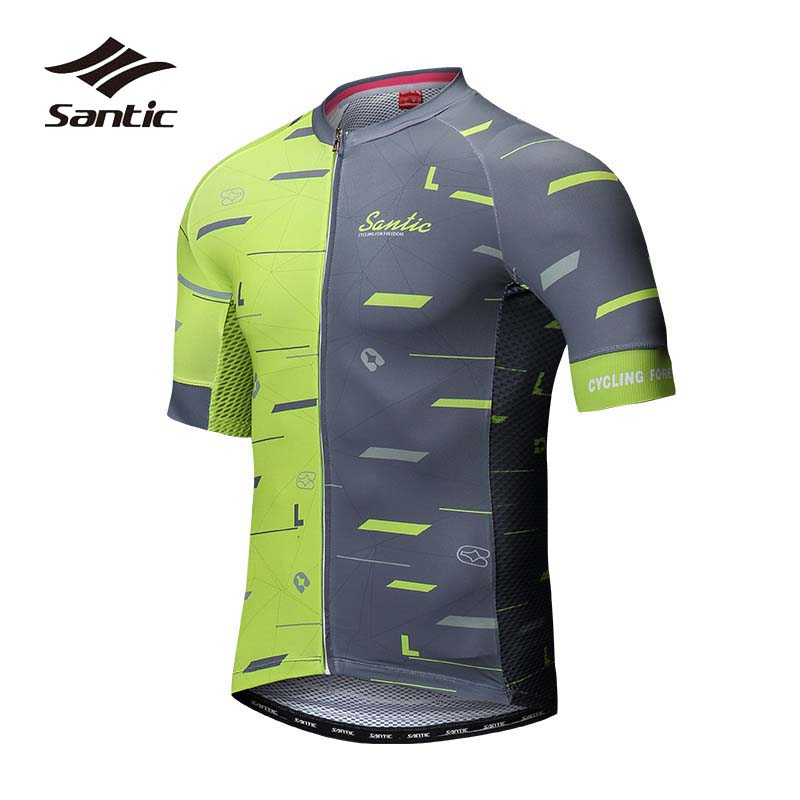 Santic Summer Cycling Jersey 2018 Pro Team Road Bike Jersey Green Short Sleeve Bicycle Jersey Men MTB Shirt Maillot Ciclismo polyester summer breathable cycling jerseys pro team italia short sleeve bike clothing mtb ropa ciclismo bicycle maillot gel pad