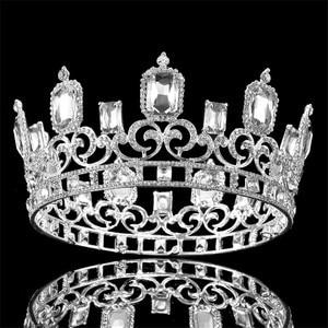 Image 5 - Vintage barroco azul cristal grande Tiaras y coronas boda joyería de pelo de Reina rey boda accesorios de la joyería